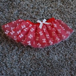 Holiday Christmas Red Tutu Dress Skirt wit Bows